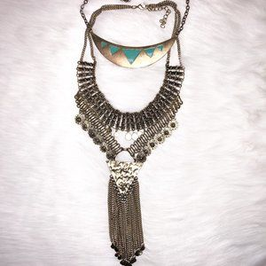 Lot of 2 Gold & Turquoise Statement Necklaces